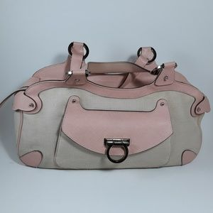 SALVATORE FERRAGAMO Gancini Canvas Pink Satchel